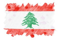 Lebanon flag is depicted in liquid watercolor style isolated on white background. Careless paint shading with image of national flag. Independence Day banner royalty free illustration