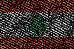 Lebanon flag is depicted on the screen with the program code. The concept of modern technology and site development.  stock illustration