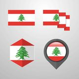 Lebanon flag design set vector. This Vector EPS 10 illustration is best for print media, web design, application design user interface and infographics with stock illustration