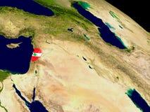 Lebanon with flag on Earth Stock Photos