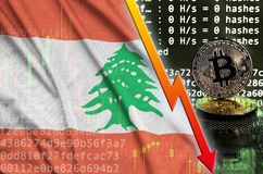 Lebanon flag and falling red arrow on bitcoin mining screen and two physical golden bitcoins. Concept of low conversion in cryptocurrency mining vector illustration