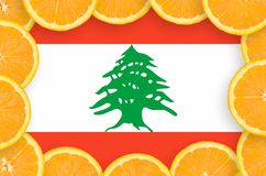 Lebanon flag in fresh citrus fruit slices frame. Lebanon flag in frame of orange citrus fruit slices. Concept of growing as well as import and export of citrus royalty free illustration