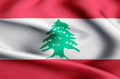 Lebanon flag illustration stock illustration