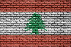 Lebanon flag is painted onto an old brick wall royalty free illustration