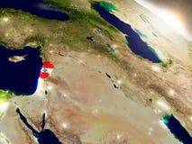 Lebanon with flag in rising sun Stock Photo