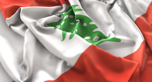 Lebanon Flag Ruffled Beautifully Waving Macro Close-Up Shot Stock Photos