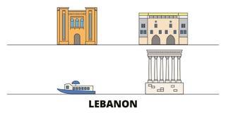 Lebanon flat landmarks vector illustration. Lebanon line city with famous travel sights, skyline, design. Lebanon flat landmarks vector illustration. Lebanon royalty free illustration