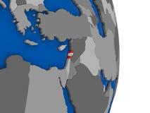 Lebanon on globe with flag Royalty Free Stock Image