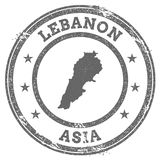 Lebanon grunge rubber stamp map and text. Royalty Free Stock Photos