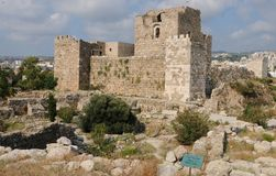 Lebanon: The historic castle in the village Byblos with stock image