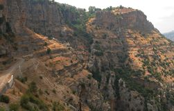 Lebanon: The holy Qadischa-valley in the lebenese mountains near royalty free stock image