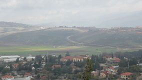 Lebanon and Israel Border view from North of Israel stock footage