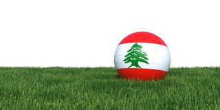 Lebanon Lebanese flag soccer ball lying in grass world cup 2018. Isolated on white background. 3D Rendering, Illustration Royalty Free Stock Photos