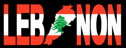 Lebanon with map on flag Royalty Free Stock Photography