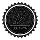 Lebanon Map Label with Retro Vintage Styled. Stock Photo