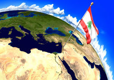 Lebanon national flag marking the country location on world map. 3D rendering Stock Photography