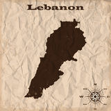 Lebanon old map with grunge and crumpled paper. Vector illustration Royalty Free Stock Photos