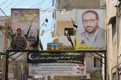Lebanon: Political and religios paroles on posters Beirut. Lebanon: Political and religios paroles on posters in the palestinian refugie camp Schatila in Beirut Royalty Free Stock Images