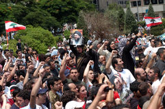 lebanon protest royaltyfria foton
