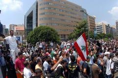 lebanon protest arkivbild