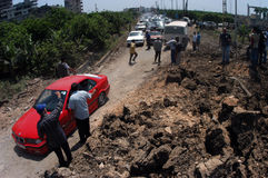 Lebanon Under Bombing. TYRE,LEBANON-JULY 31: Unidentified Civilians fleeing the Israeli bombardment on July 31, 2006 in Tyre,Lebanon Royalty Free Stock Photo
