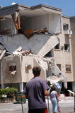 2006 Lebanon War. HAIFA, ISR - JULY 21:Bombed-out building that was struck by a Katyusha rocket fired from south Lebanon by Hezbollah on July 21, 2006.In the Stock Image