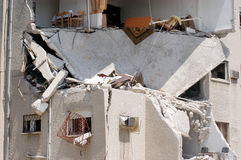2006 Lebanon War. HAIFA, ISR - JULY 21:Bombed-out building that was struck by a Katyusha rocket fired from south Lebanon by Hezbollah on July 21, 2006.In the Stock Images