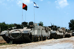2006 Lebanon War. NORTH ISRAEL - JULY 26:Israeli tanks on Israel Lebanon border on July 26 2006. In the conflict 165 Israelis where killed and 500,000 displaced stock image