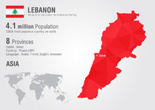 Lebanon world map with a pixel diamond texture. Stock Image