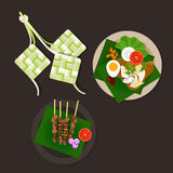 Lebaran ketupat idul fitri ied food sate opor ayam. Vector asian food Stock Image