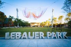 Lebauerpark, in Greensboro van de binnenstad, Noord-Carolina stock foto