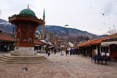 Leben auf der Straße von Sarajevo, Bosnien Lizenzfreies Stockbild