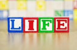 Leben buchstabiert heraus in den Alphabet-Bausteinen Stockfotos