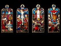 Leben des Christ-Buntglas-Fensters Stockfotos