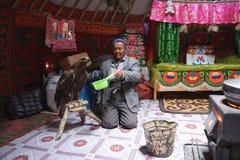 Leben des mongolischen Adlerjägers 16 Stockbilder