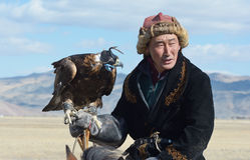 Leben des mongolischen Adlerjägers 13 Stockfotografie