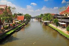 Leben entlang dem Sansab Kanal in Bangkok Thailand Stockfotografie