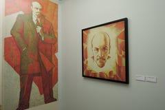 Leben und Theater von Alexander Tikhomirov Vladimir Lenin-Porträts Lizenzfreie Stockfotos