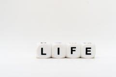 Leben, Würfelbuchstaben Stockfotografie