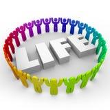 Leben-Wort-verschiedene Leute, die zusammen Friedensharmonie leben Stockfotos
