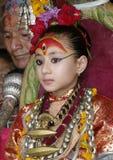 Lebende Göttin Kumari- der Jungfrau-Gott lizenzfreie stockfotos