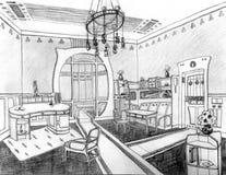 Lebende Hand Art Nouveau Interiors gezeichnet Lizenzfreie Stockfotos