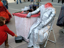 Lebende Statue in Barcelona, Spanien Stockfotografie