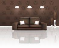 Lebender Platz mit Brown-Sofa Lizenzfreie Stockbilder