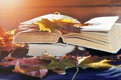 Lebens- alte Bücher des Weinleseherbstes noch auf dem Tisch nahe trockenen Ahornblättern Stockfotografie