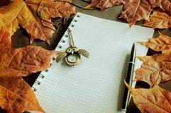 Lebens- alte Bücher des Weinleseherbstes noch mit Uhren nähern sich trockenen Ahornblättern des Herbstes Stockfotografie