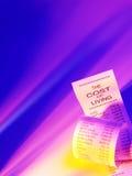 Lebenshaltungskosteneinkaufsliste, welche die Preise des Betriebs eines Hauses mit farbiger Beleuchtung zeigt Stockbild