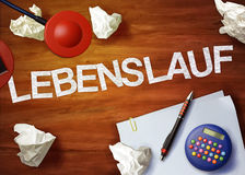 Lebenslauf desktop memo calculator office think organize Stock Photos