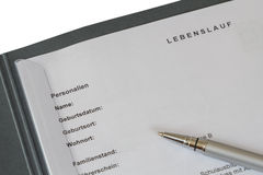 Lebenslauf Royalty Free Stock Photo