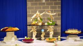 Lebensmittel auf dem Tisch gedient, die schwedische Tabelle: Fleisch stock footage